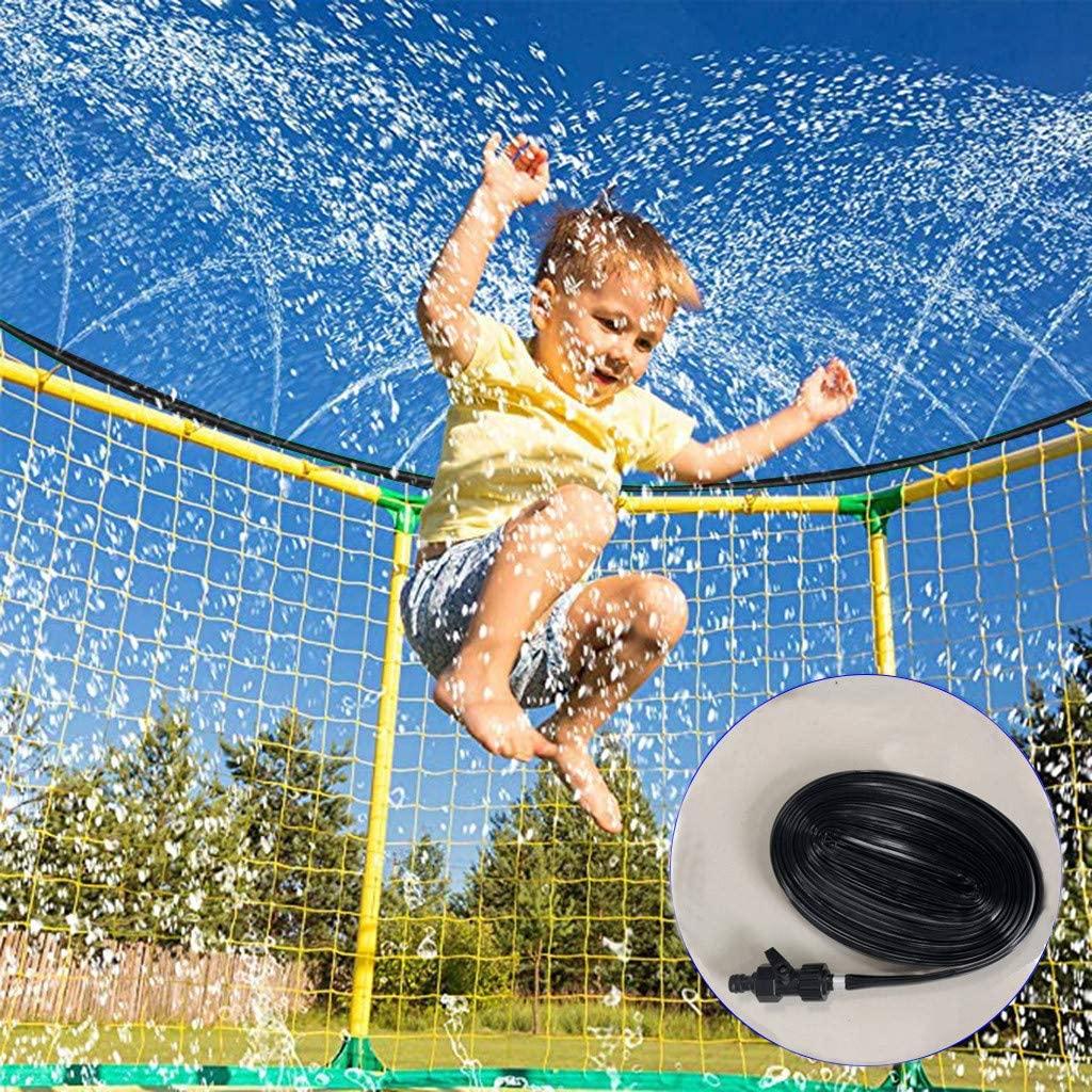Trampoline Sprinkler, Trampoline Water Park Sprinkler, 39.4FT Outdoor Water Play Sprinklers for Kids Fun Water Park, Summer Games Yard Toys Sprinkler (Black)