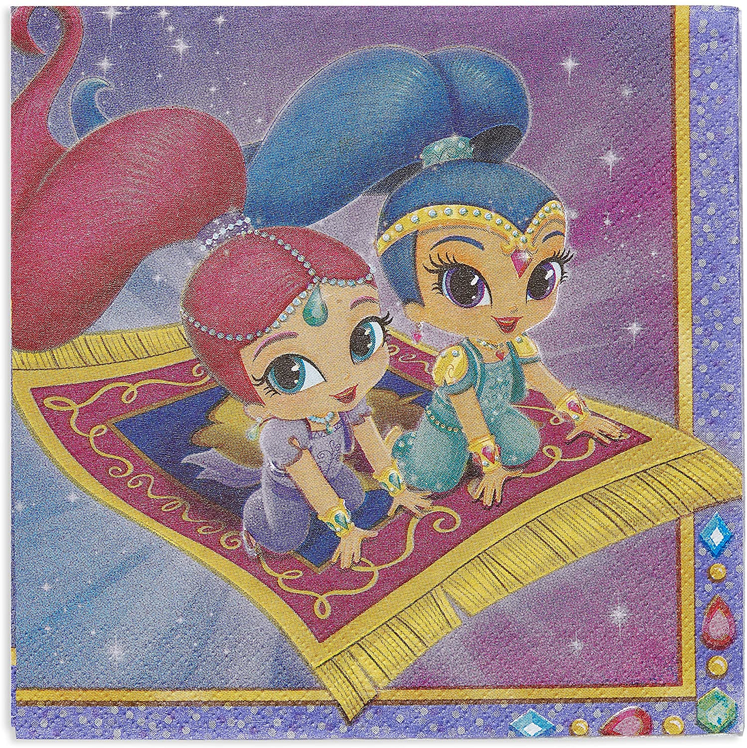 American Greetings Shimmer and Shine Party Supplies, Paper Lunch Napkins (16-Count)