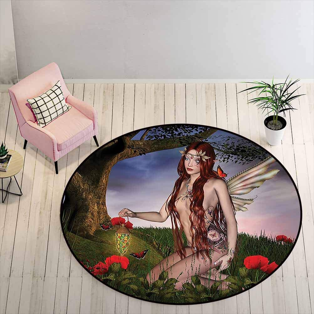 Kids Rugs for Bedroom Boys Fantasy Non-Slip Rug Redhead Fairy with Wings Holding a Butterfly Catcher Lantern Surrounded by Poppies, 3 ft Diameter, Multicolor