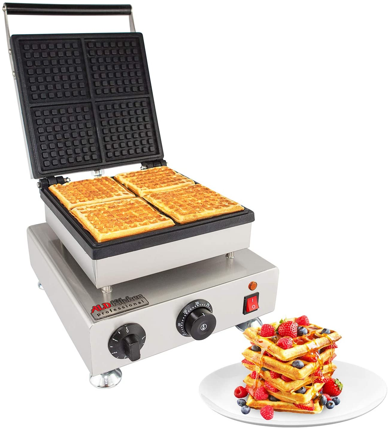 ALDKitchen Belgian Waffle Iron | Press Type | 4 Square Waffles | Professional Use | Stainless Steel | Nonstick | 110V