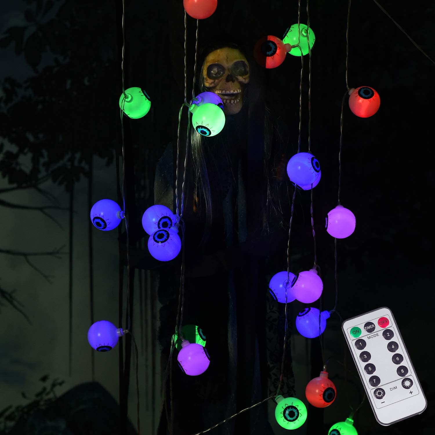 DAYLIGHTIR Halloween Ghost Eyeball String Lights, 16ft 30LED Battery-Powered Remote-Control Perfect Halloween Decoration for Outdoor, Indoor, Garden, Yard, Tree, Party (Multicolor)