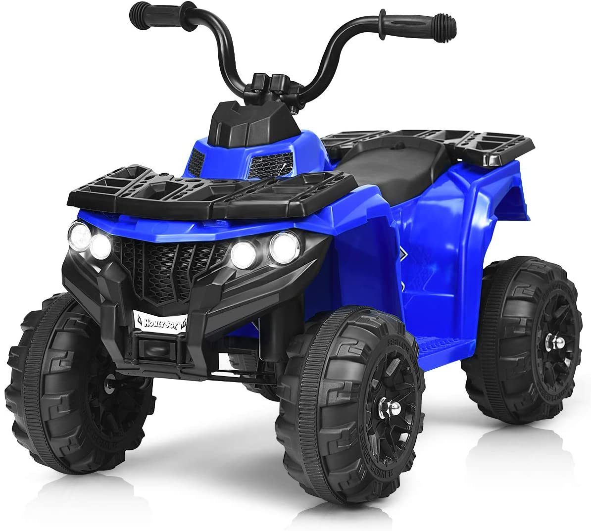 HONEY JOY Kids Ride On ATV, 4-Wheeler Quad, 6V Battery Powered Electric Vehicle with Headlights, Music, MP3, USB, AUX, Adjustable Volume (Blue)