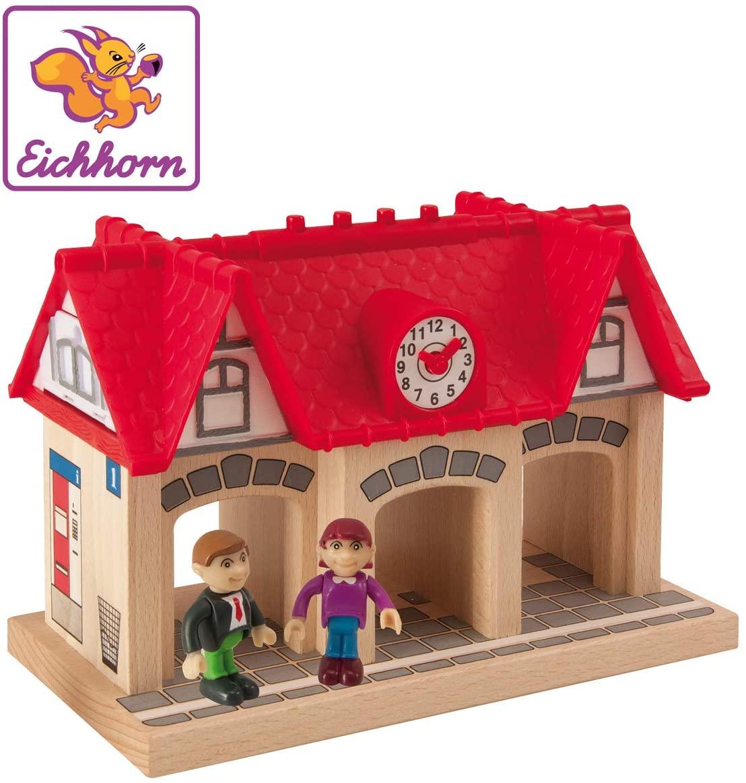 Eichhorn Wooden Soundstation for Trains Sets (4 Piece), Brown