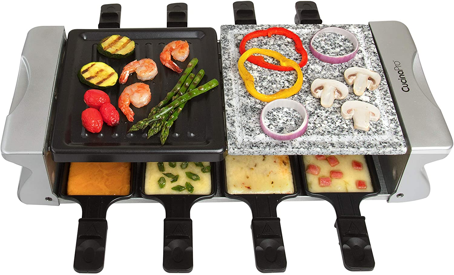 Dual Cheese Raclette Table Grill w Non-stick Grilling Plate and Cooking Stone- Deluxe 8 Person Electric Tabletop Cooker- Melt Cheese and Grill Meat and Vegetables at Once, Great Father's Day Gift