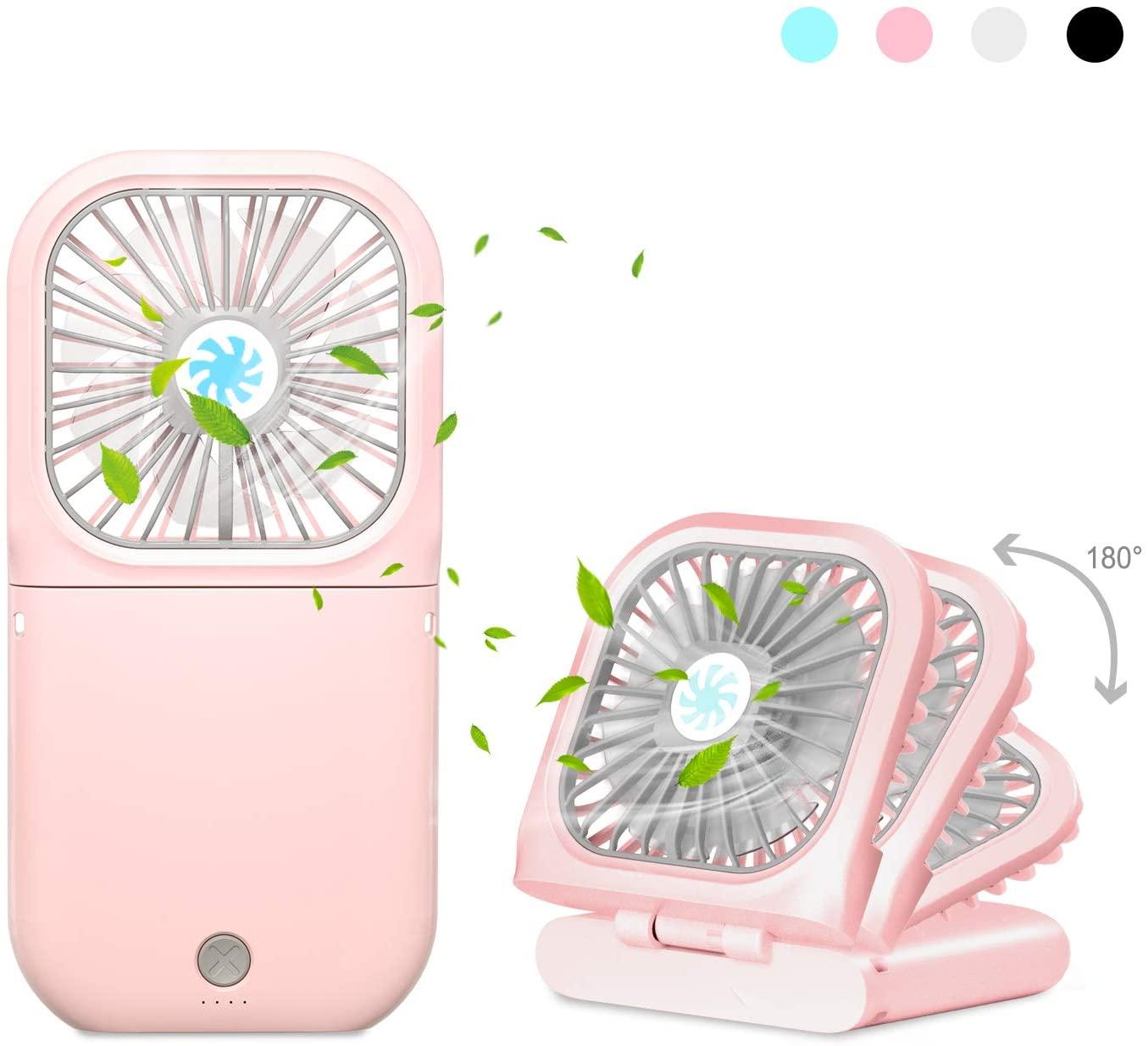 AIMO Handheld Fan,3000mAh Rechargeable Battery Portable Mini Fan Foldable 3 Speeds Adjustable 4-10 Hours Operated Fan Low Noise Lanyard Girls Kids Women Men Home Office Travel Outdoor Pink