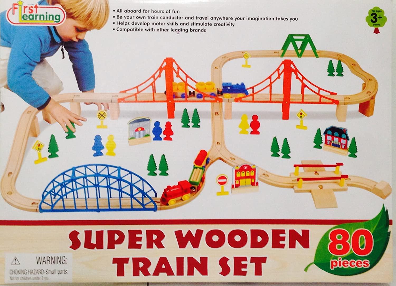 Super Wooden Train Set - 80 Pieces