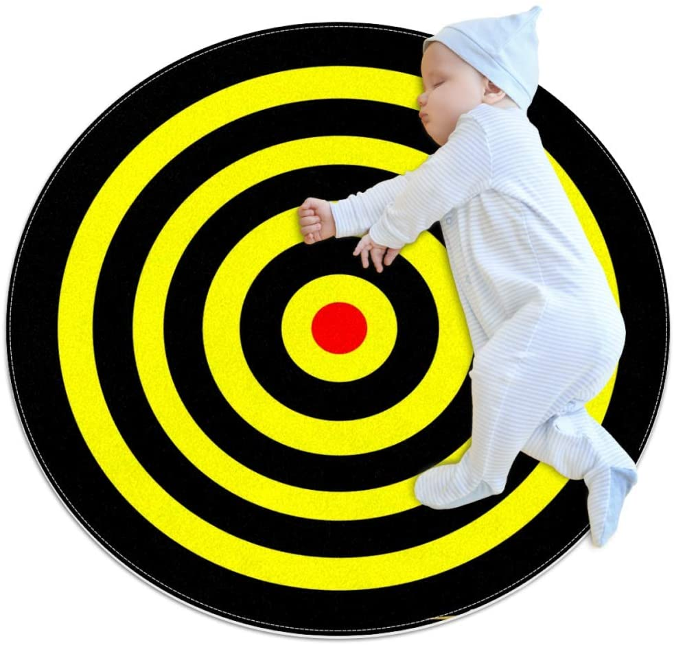 Yellow Dart Target Kids Playmat Round Soft Modern Rugs for Floor Non-Slip for Room Decorations 31.5x31.5IN
