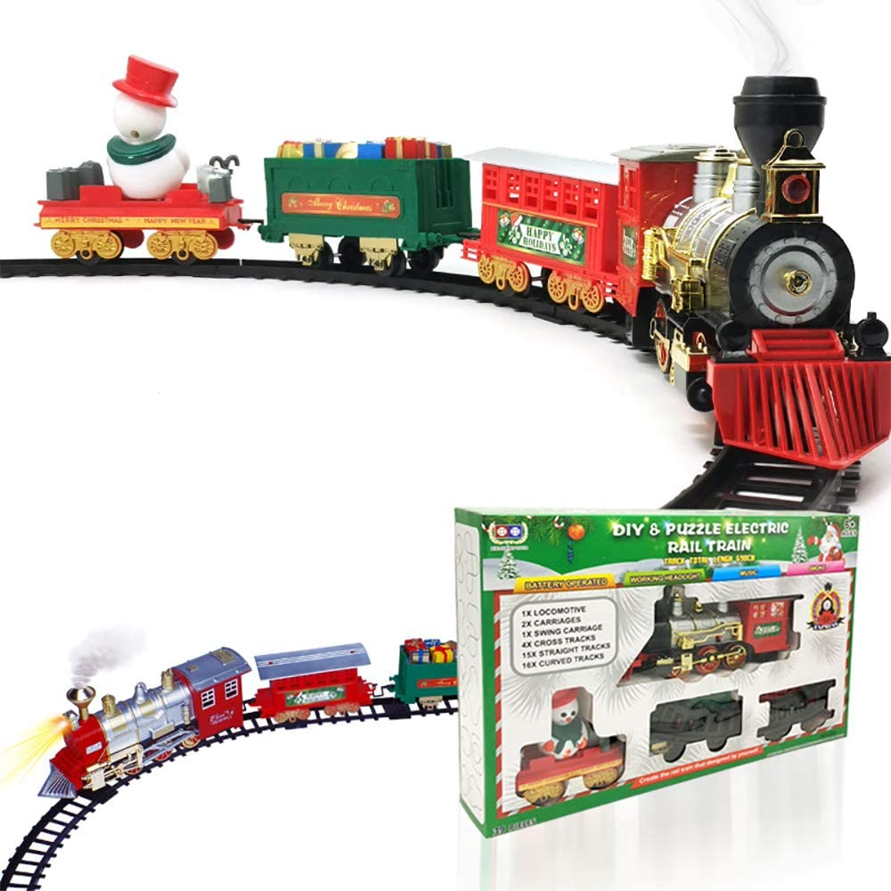 GZQ Christmas Train Set Creative Toys Locomotive Engine Cargo Cars Tracks Realistic Sound Simulation Light Music Train for Kids