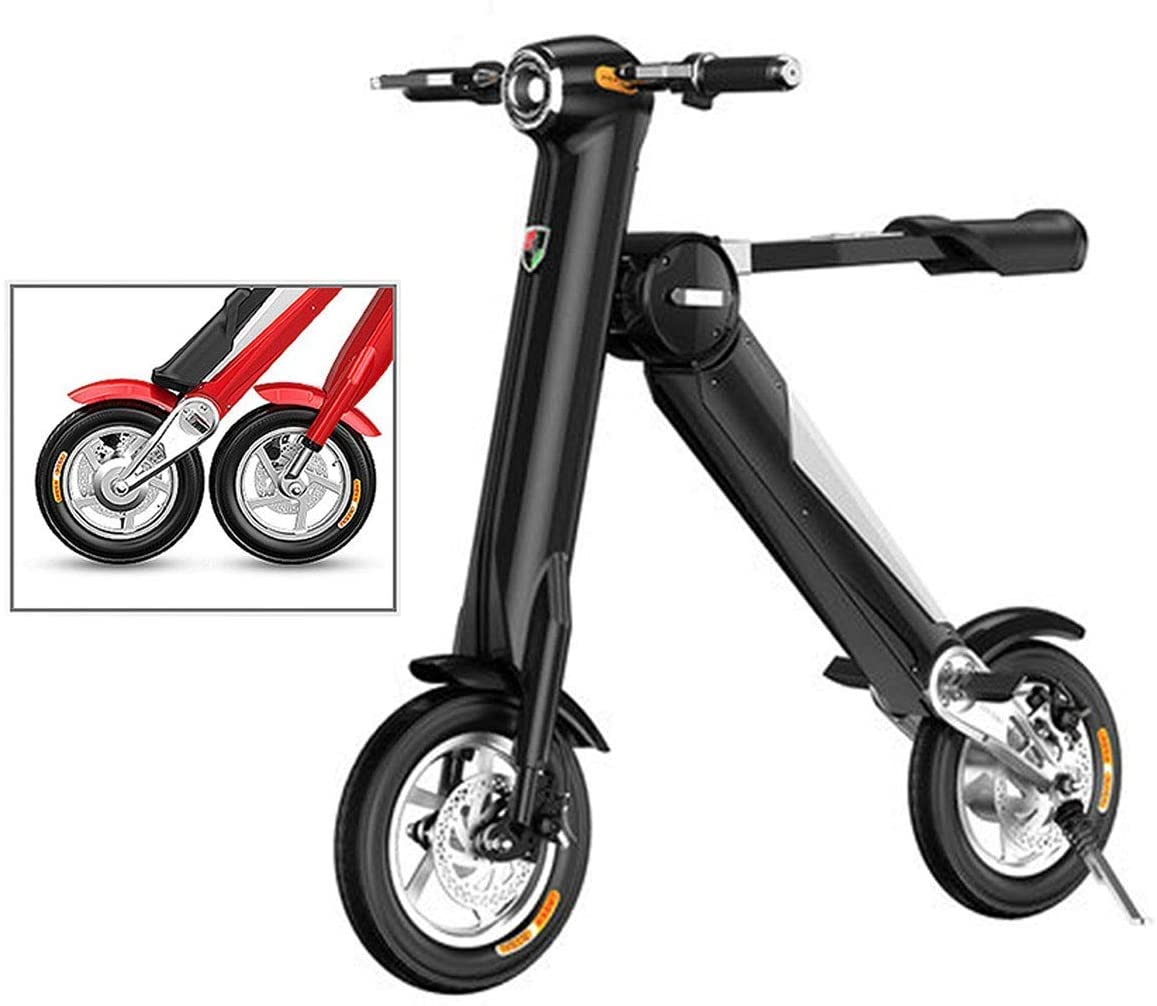 QX Scooter Mini Folding Electric Car Adult Lithium Battery Bicycle Two-Wheel Portable Travel Battery Car Led Lighting (Can Bear 180Kg),Black