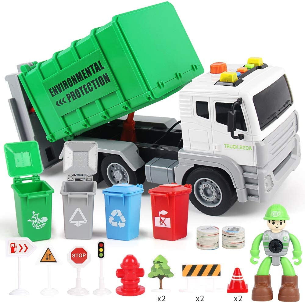1/12 Friction Powered Garbage Truck Toy with Light and Sound , Back Bump, Waste Management Recycling Truck Learning Toy Set with 4 Trash Cans, Birthday Party Gift for 3 4 5 6 7 8 Years Old