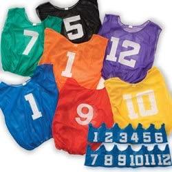 BSN Adult Lightweight Numbered Scrimmage Vests, One Dozen