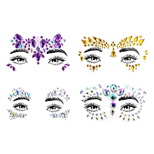 Spestyle 4 Sets Mermaid Face Gems Rave Festival Face Jewels Stick On Crystals Bindi Rainbow Tears Rhinestone Temporary Tattoo Face Rocks Stickers