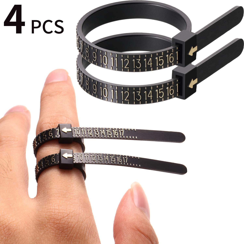 Black US Ring Sizer Set Jewelry Measurement Plastic Finger Sizer Ring Gauge Measuring Tool Belt for Women Men Kids 4 Packs