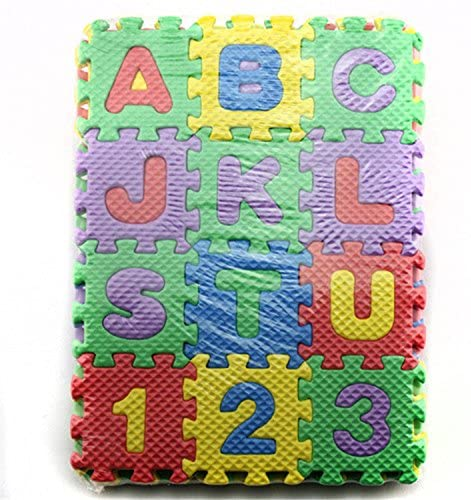 DishyKooker 36 Pieces Child Cartoon Letters Numbers Foam Play Puzzle Mat Floor Carpet Rug for Baby Kids Home Decoration