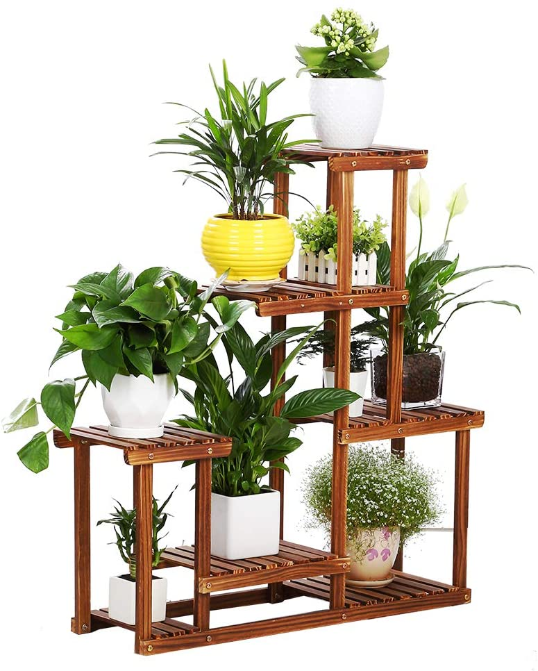 Outdoor Plant Stand, 6 Tier 12 Potted Plant Stand Indoor, Multiple Layer Outdoor Plant Stands, Patio Rustic Wood Plant Rack (085)