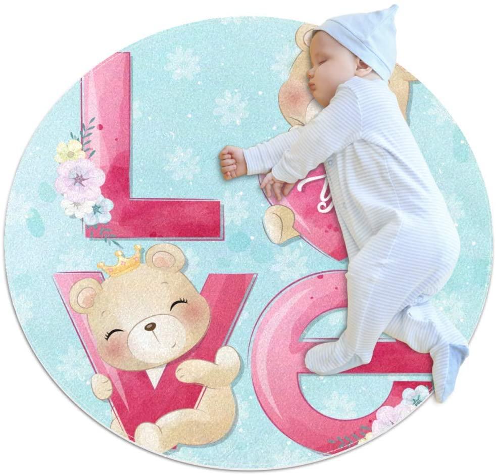 Bear Love Flower Kids Playmat Round Soft Modern Rugs for Floor Non-Slip for Room Decorations 39.4x39.4IN