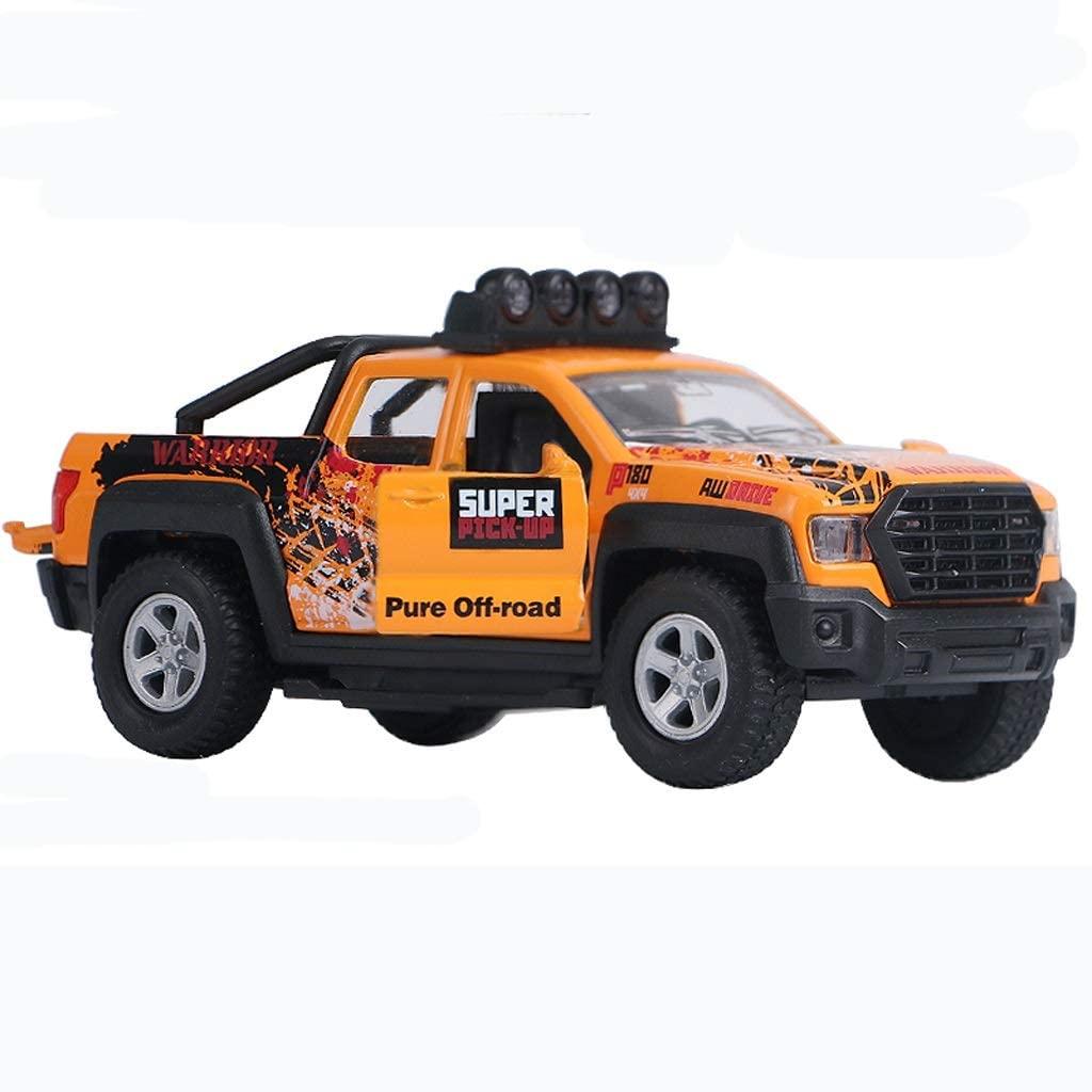 Alloy City Pickup Metal Car Model SUV Pull Back Sound and Light Toy Car Camper (Color : Orange)
