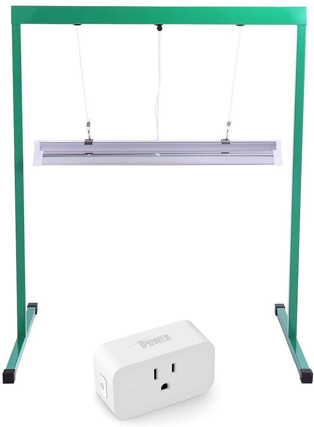 iPower GLT5XX2TIMESMART15 24W 2 Feet T5 Fluorescent Light Stand Rack for Seed Starting Plant Growing, 6400K Smart Plug Socket Homekit Mini WiFi Outlet Extender Switches, Timer, Green+White