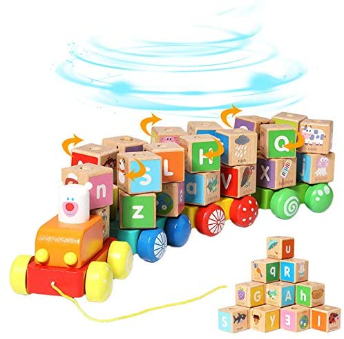 Arkmiido Wooden Building Blocks,Pull Along Wooden Train Toys,26 PCS Alphabet Letters Block Set Montessori Educational Toys for 3 Years Old