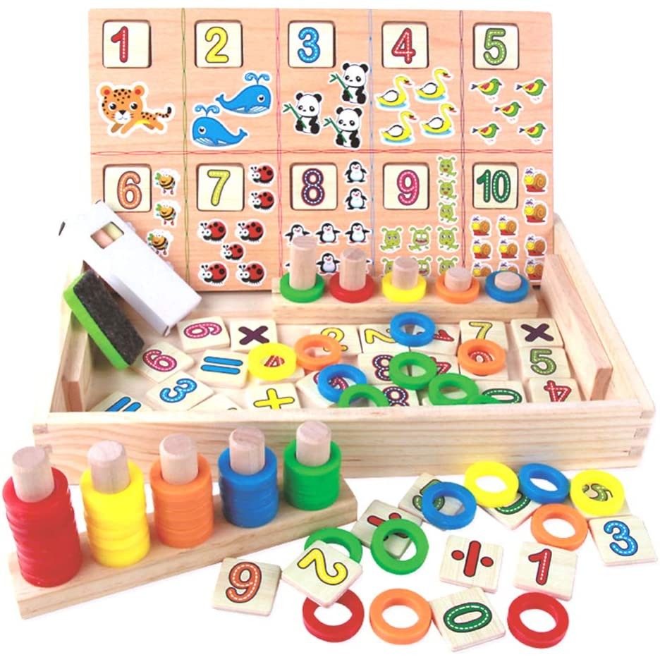 NUOBESTY Math Learning Box, Counting Number Animal Calculation Toy with Blackboard Chalk, Wooden Colorful Multifunction Educational Toys Kids Gift