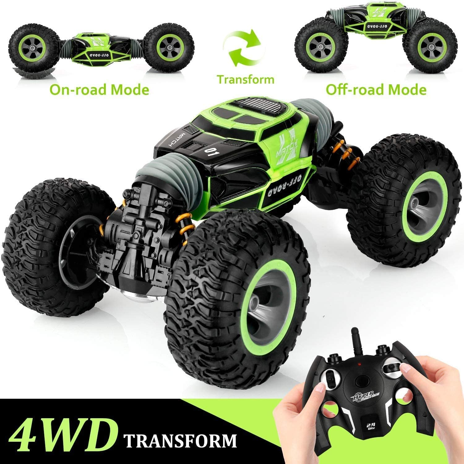 CGIIGI Remote Control Car, 2.4 GHZ High-speed Stunt RC Racing RC Tracked Car, With Rechargeable Battery, Indoor And Outdoor Cars, Vehicles, Children's Cars, Hobby Cars, Toys, Gifts For Children, Green
