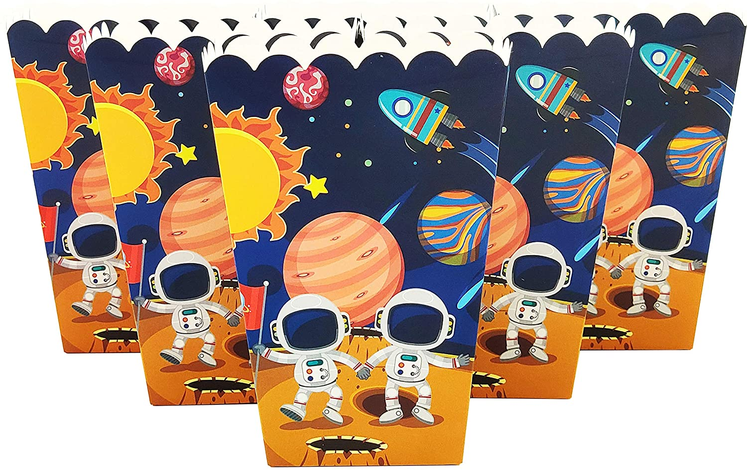 24 Piece Popcorn Box Snack Box for Kids Children Astronaut Solar Space Birthday Party, Cake Treat Gift Box Candy Cookie Containers Goodie Bag, Baby Shower Party Decoration Favors Supplies