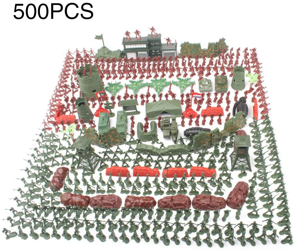 SKYHY224 Military Model Set 500pcs Game Accessories Educational Concetion Playing Soldier Figures Collection Communication Kids Toy Army Kit Birthday Gift Parent Child Developing
