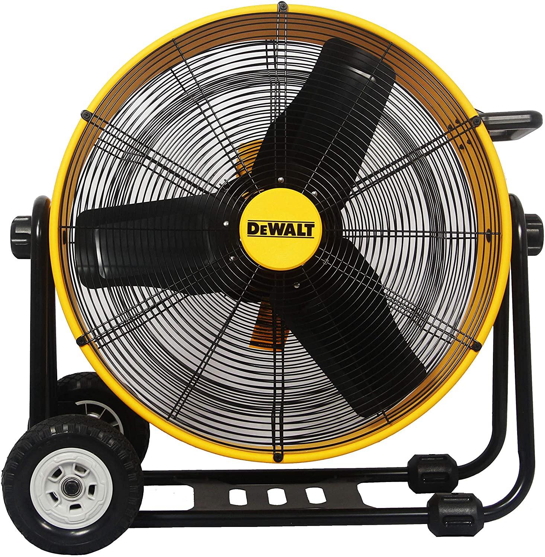 DEWALT DXF-2490 High-Velocity Industrial, Drum, Floor, Barn, Warehouse Fan, Heavy Duty Air Mover with Adjustable Tilt & Large Wheel, 24