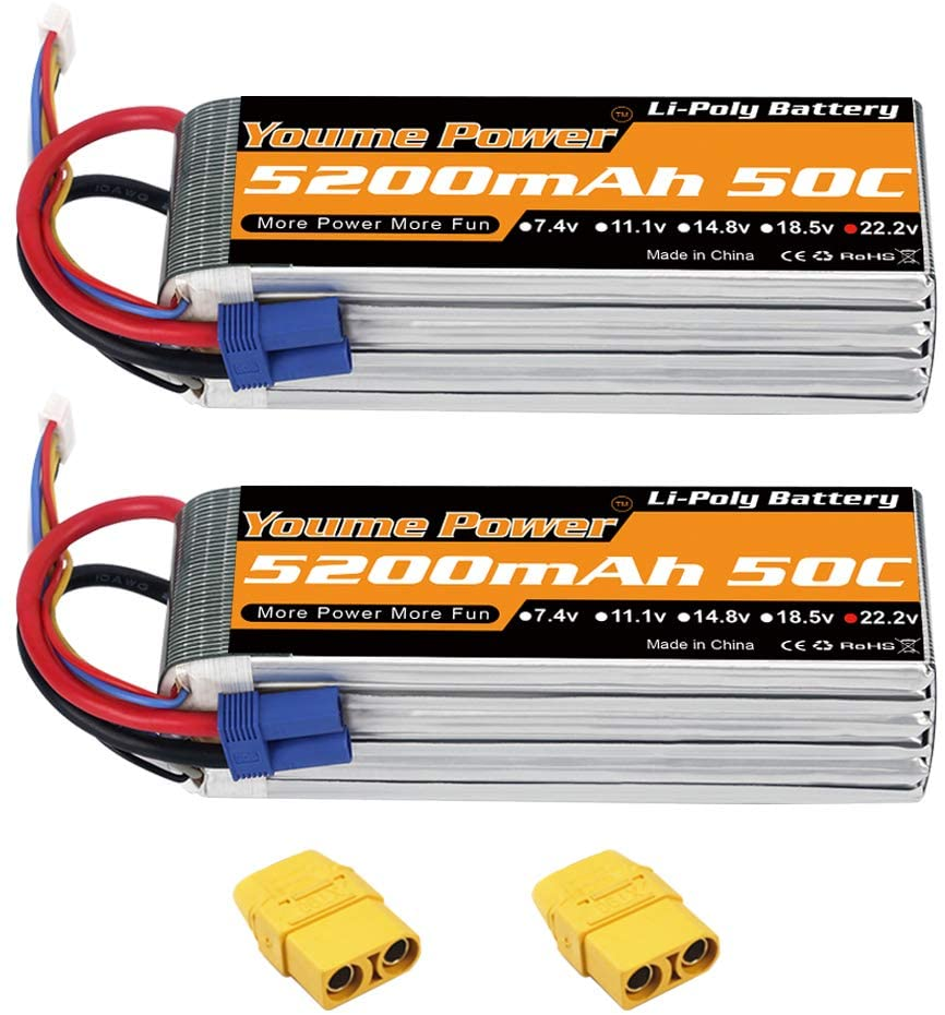 Youme 2Packs 6s RC Lipo,22.2V Lipo Battery 5200mah 50C with EC5 and XT90 Plug for DJI Align T-REX550 600 RC Airplane Helicopter Quadcopter Car Truck Boat Hobby