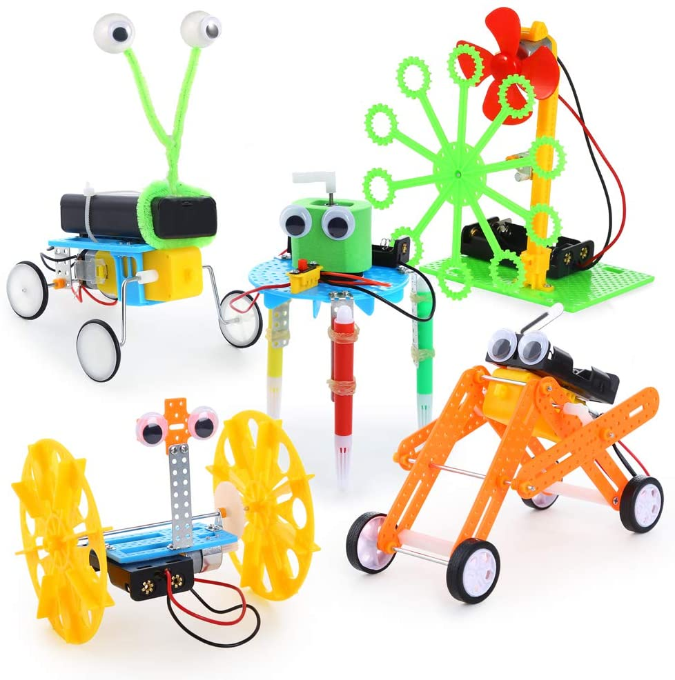 Sntieecr 5 Set Electric Motor Robotic Science Kits, DIY STEM Kids Science Assembly Kit, Building Engineering Circuit Educational Robot Learning Kits for Kids STEM Science Projects