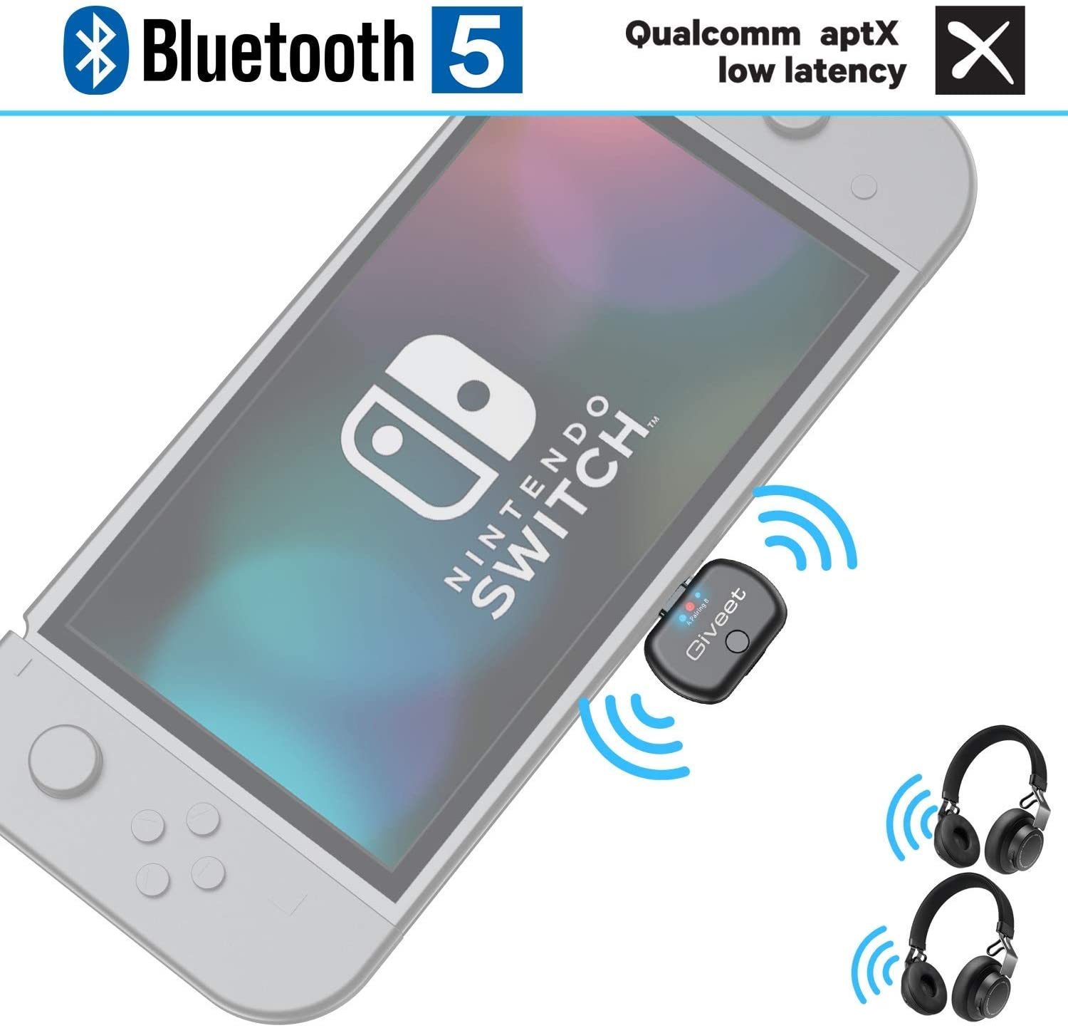 Giveet USB-C Bluetooth Audio Transmitter Adapter Support in-Game Voice Chat, Dual Link aptX Low Latency Compatible with Nintendo Switch, Wireless Gaming Headphones and PC (Renewed)