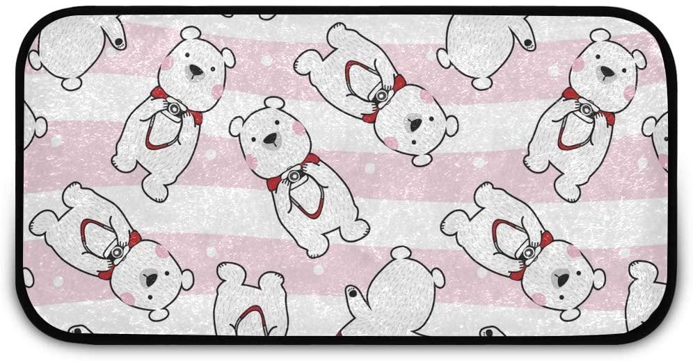 Rectangle Shaggy Rug Standing Mat for Kids Cute Cartoon Animals Polar Bear Striped Anti-Slip Rug Rectangle Carpet Play Mat