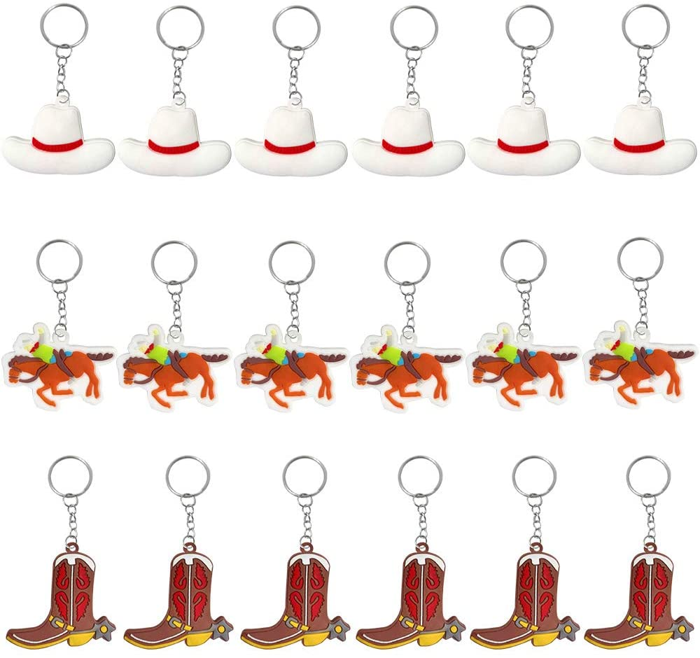 iMagitek 18 Pack Western Themed Keychains Cowboy Boot Hat Party Favors for Cowboy Birthday Party Decorations, Cowboy Themed Baby Shower