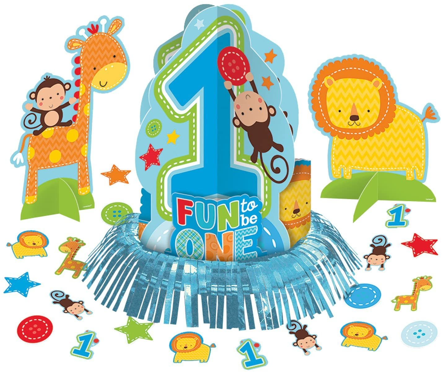 amscan One Wild Boy 1st Birthday Table Decorating Kit, Large, Blue