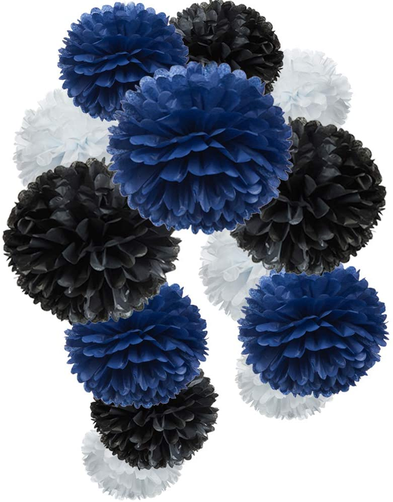 Paper Flower Tissue Pom Poms Graduation and Outer Space Galaxy Party Favor Flowers (black,navy blue,white,12pc)