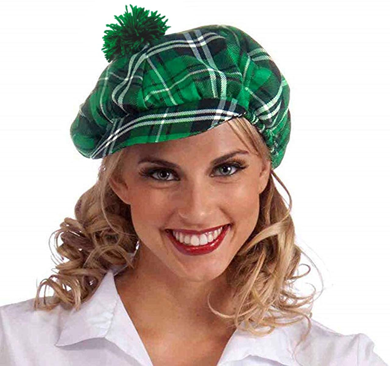 FALETO Unisex St. Patrick's Day Green Plaid Hat Irish Party Funny Accessory