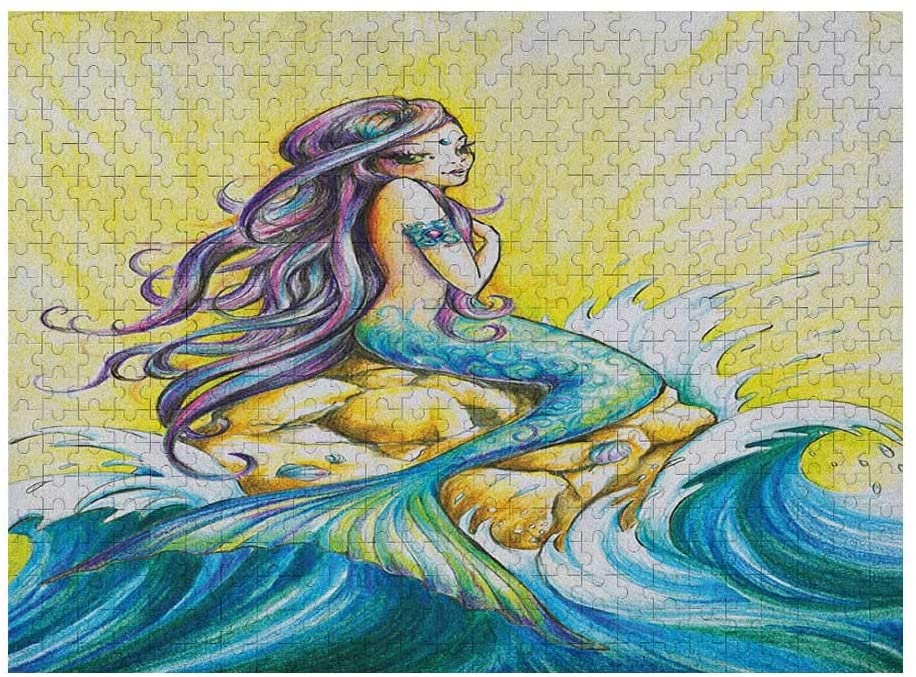 GugeABC Mermaid 3D Puzzles 500 Piece, Magical Mermaid Sitting on Rock Sunny Day Colored Pencil Drawing Effect, Yellow Blue Purple