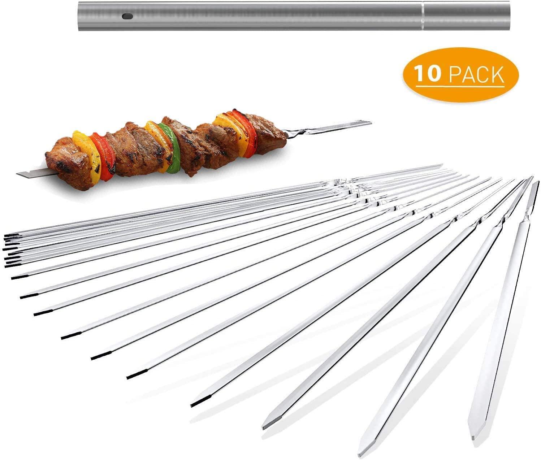 BAODANTECH Kabob Skewers Flat Metal Barbecue BBQ Skewer 14'' Stainless Steel Wide Reusable Grilling Skewers Set for Shish Kebob,Party,Meat Shrimp,Chicken,Vegetable(10 Pack)