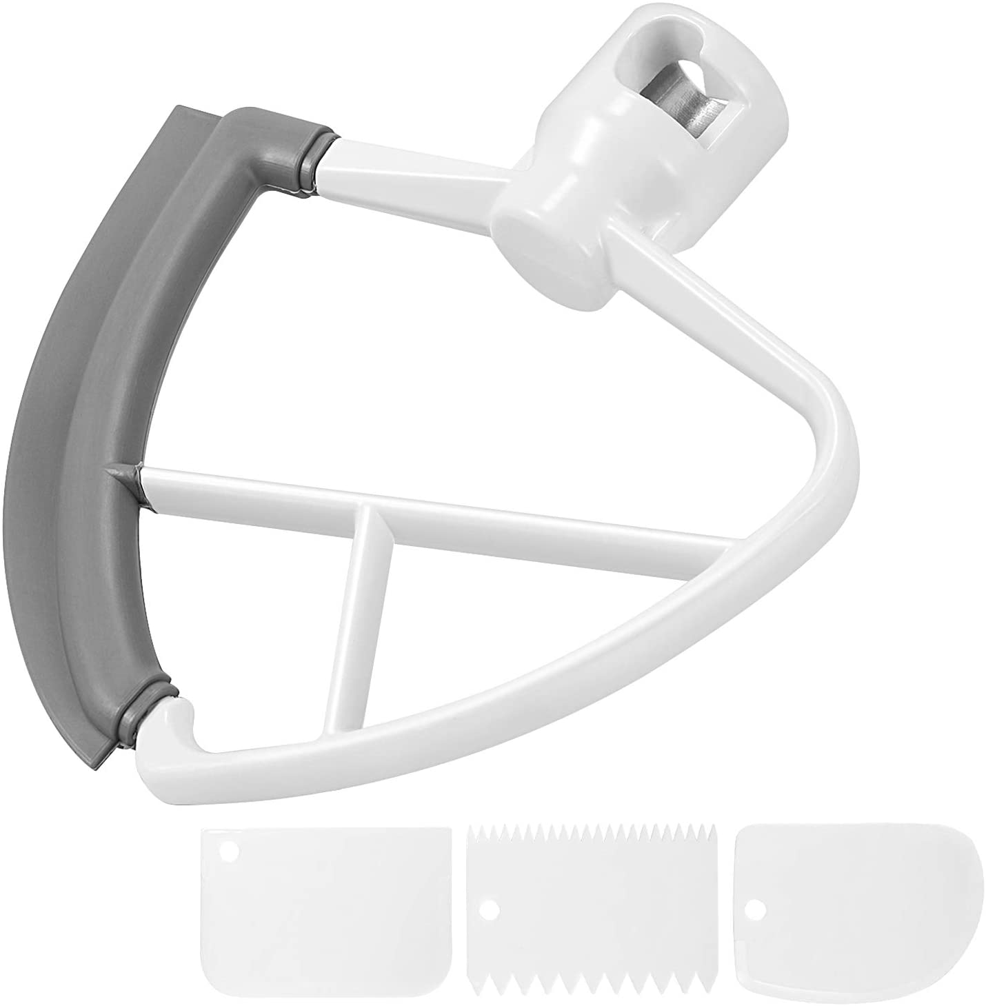 Flex Edge Beater, ONME Mixer Attachment 4.5-5 Quart Tilt-Head Stand Mix Accessory for KitchenAid Stand Mixers with 3 Scrapers