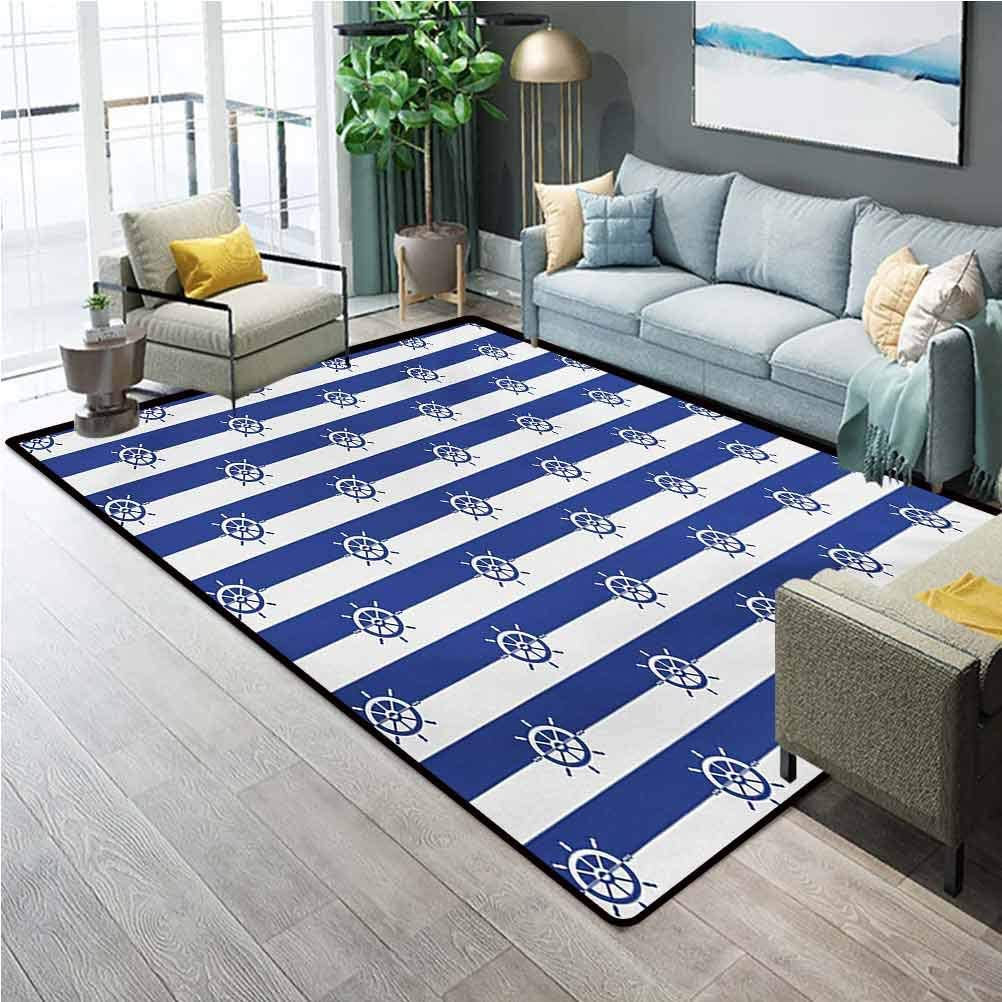 Ships Wheel Bath Rugs and mats Kitchen Rug Set Sailor Stripes Breton with Silhouettes of Ships Wheels Classic Artwork Outdoor Carpet Royal Blue White W5x L6 Ft