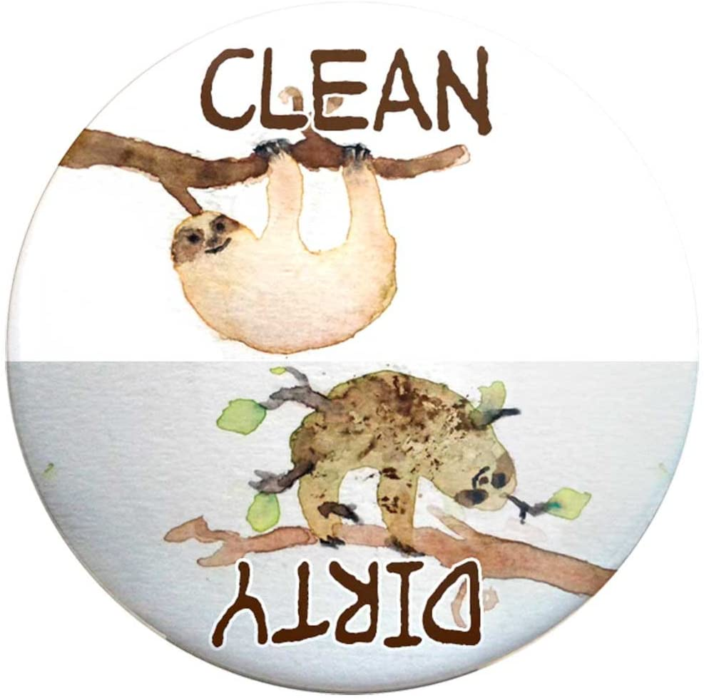 Buttonsmith Clean-Dirty Dishwasher Magnet (Sloths) - Made in the USA,2.25 inch Round
