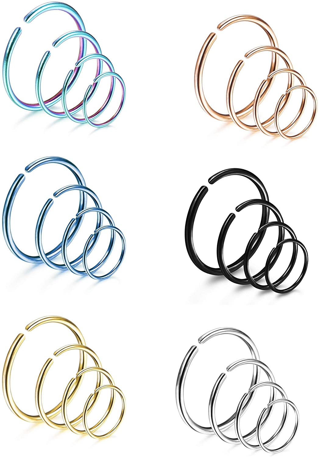 LOYALLOOK 18-24Pcs 20G 316L Stainless Steel Nose Ring Hoop Cartilage Hoop Septum Piercing 6-12mm