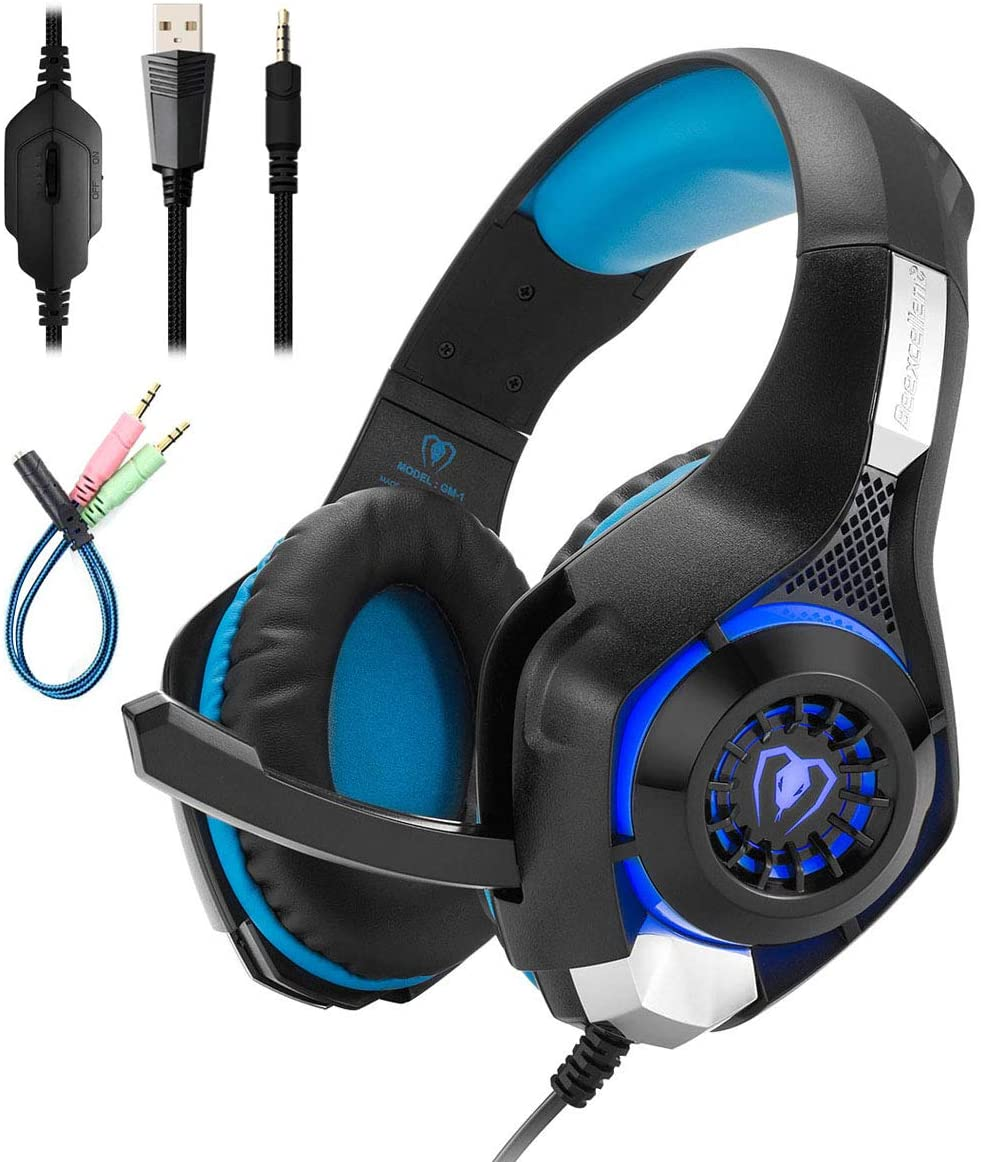 Mengshen Gaming Headset Compatible with PC/Laptop/Smartphones/ PS4/ Xbox One - with Mic, Volume Control, Cool LED Lights and Soft Earpads - GM1 Blue