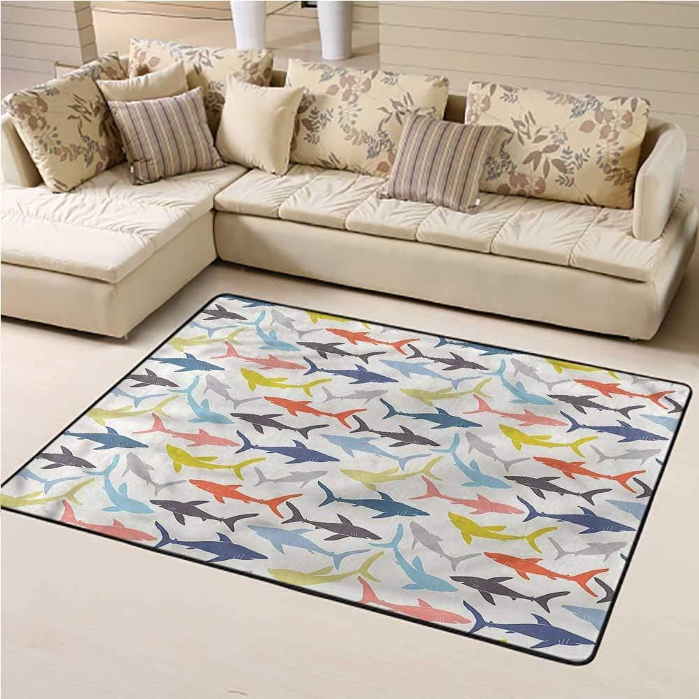 Area Rug Shark, Wild Fishes in Various Tones Soft Kids Room Rug for Children to Crawl and Play 5 x 8 Feet