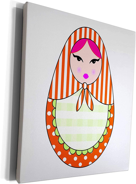 3dRose Janna Salak Designs Dolls - Cute Russian Matryoshka Nesting Doll Pink Hair - Warm Colors White - Museum Grade Canvas Wrap (cw_58637_1)
