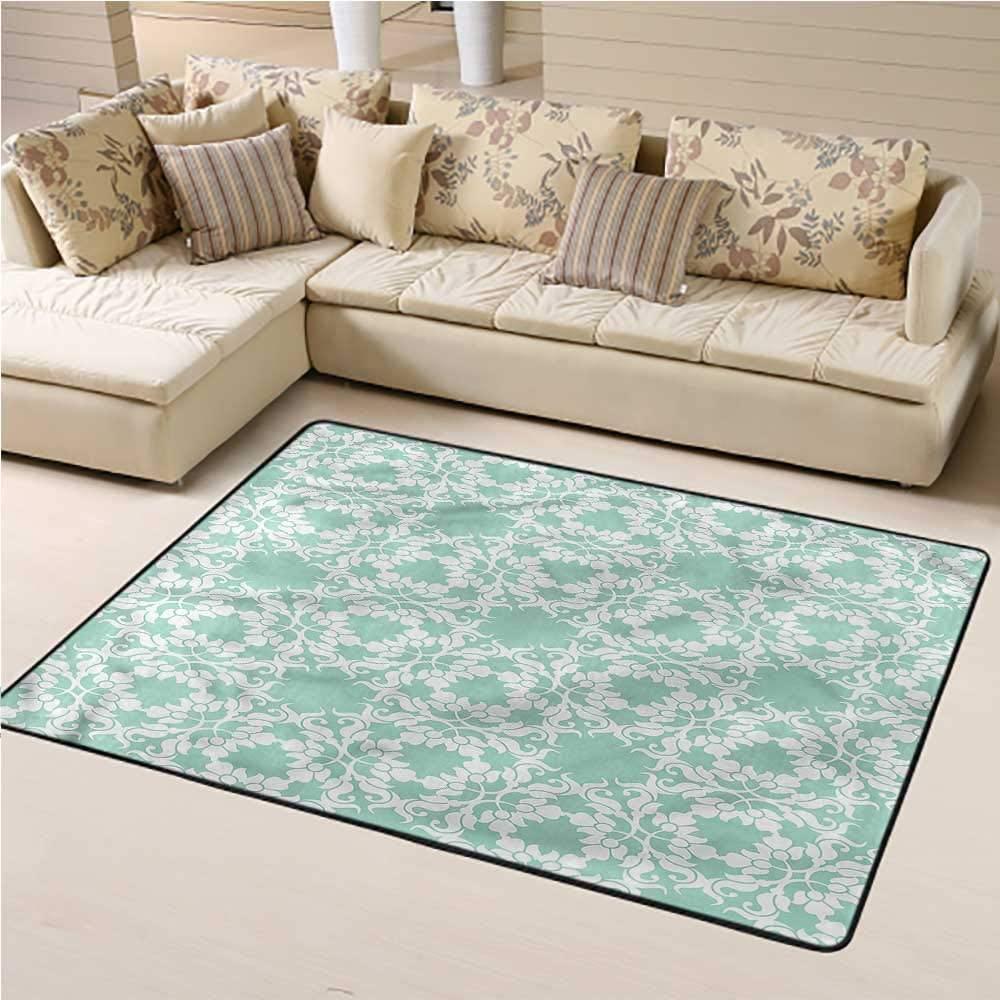 Carpet Turquoise, Ornate Damask Flower Kids Carpet Playmat Rug for Bedroom Playroom Nursery, Best Shower Gift 3 x 5 Feet