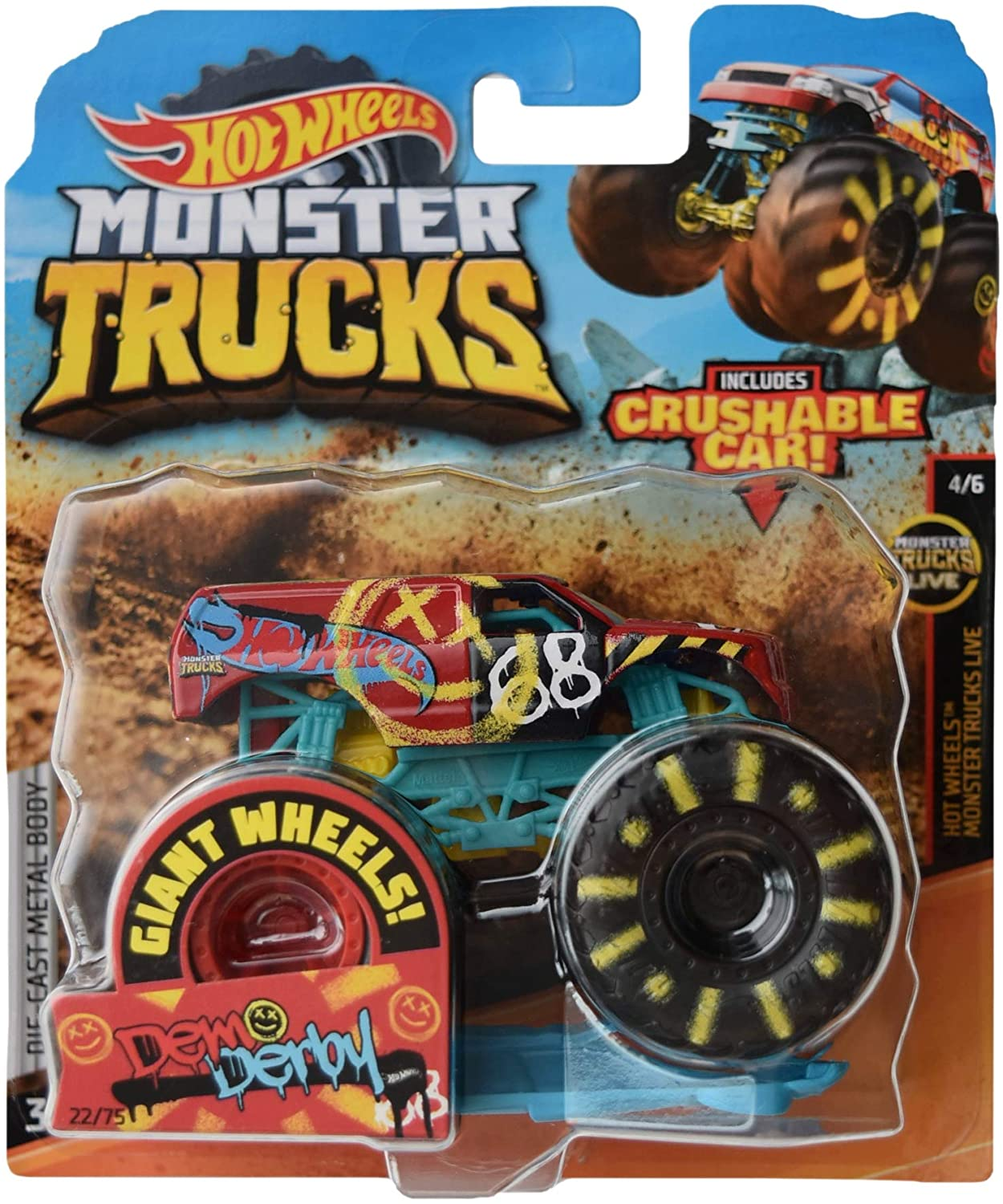 Hot Wheels Monster Trucks 1:64 Scale die cast Demo Derby 22/75 Crushable Car