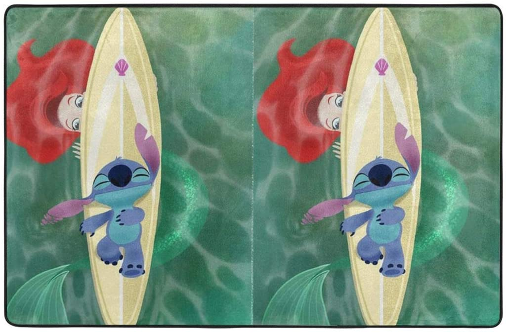 Large Soft Flannel Area Rug Anti- Skid Stitch and The Mermaid Princess Carpet Bedroom Kids Room Mat Home Decor- 60 X 39 in