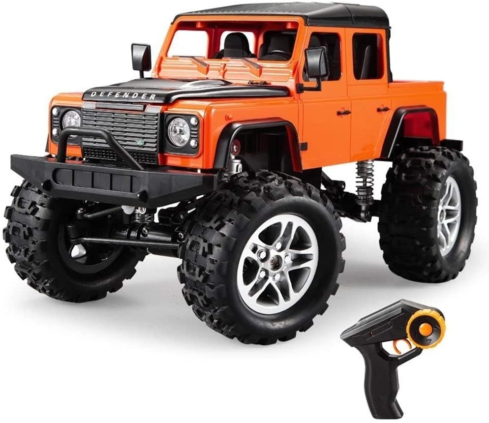 Xuess Suitable for Any Terrain RC Climbing Car Drive Charging Remote Control Car Off-Road Vehicle Model Car for Kids Boys Girls Children's Gift 2.4G 4-Wheel Pickup Truck Toy Model (Color : Orange)