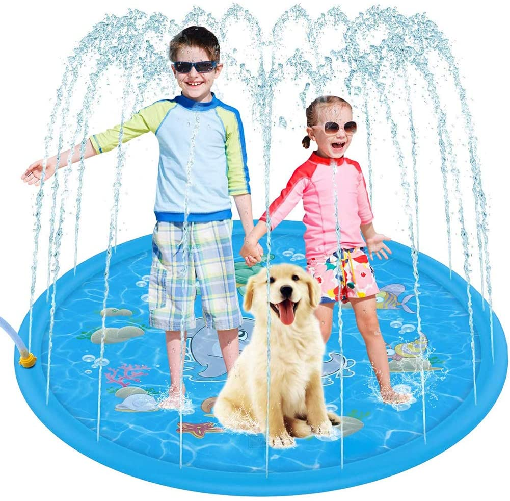 W&Y Splash Pad, 68 Inflatable Water Sprinkler Pad & Sprinkle Play Mat Spray Wading Toys for Garden/Outdoor Party/Family Activities/Beach